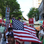 American flags were a prominent symbol in the earlier march.