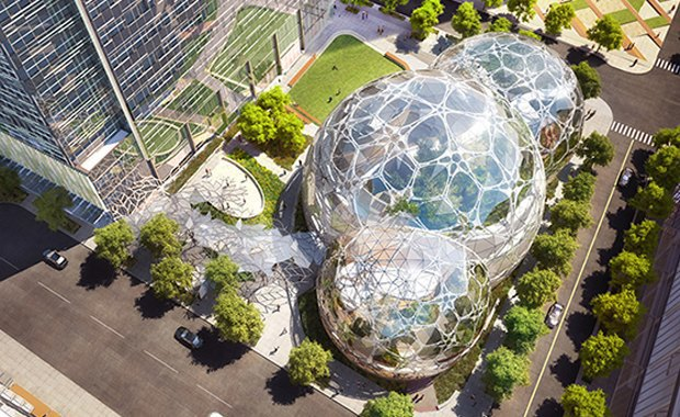Amazon's new campus, complete with Biodomes