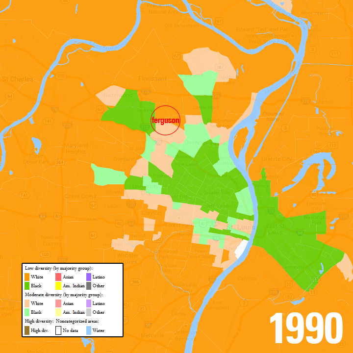 The St. Louis metro area in 1990, with census blocks mapped by majority race. Data from www.mixedmetro.us