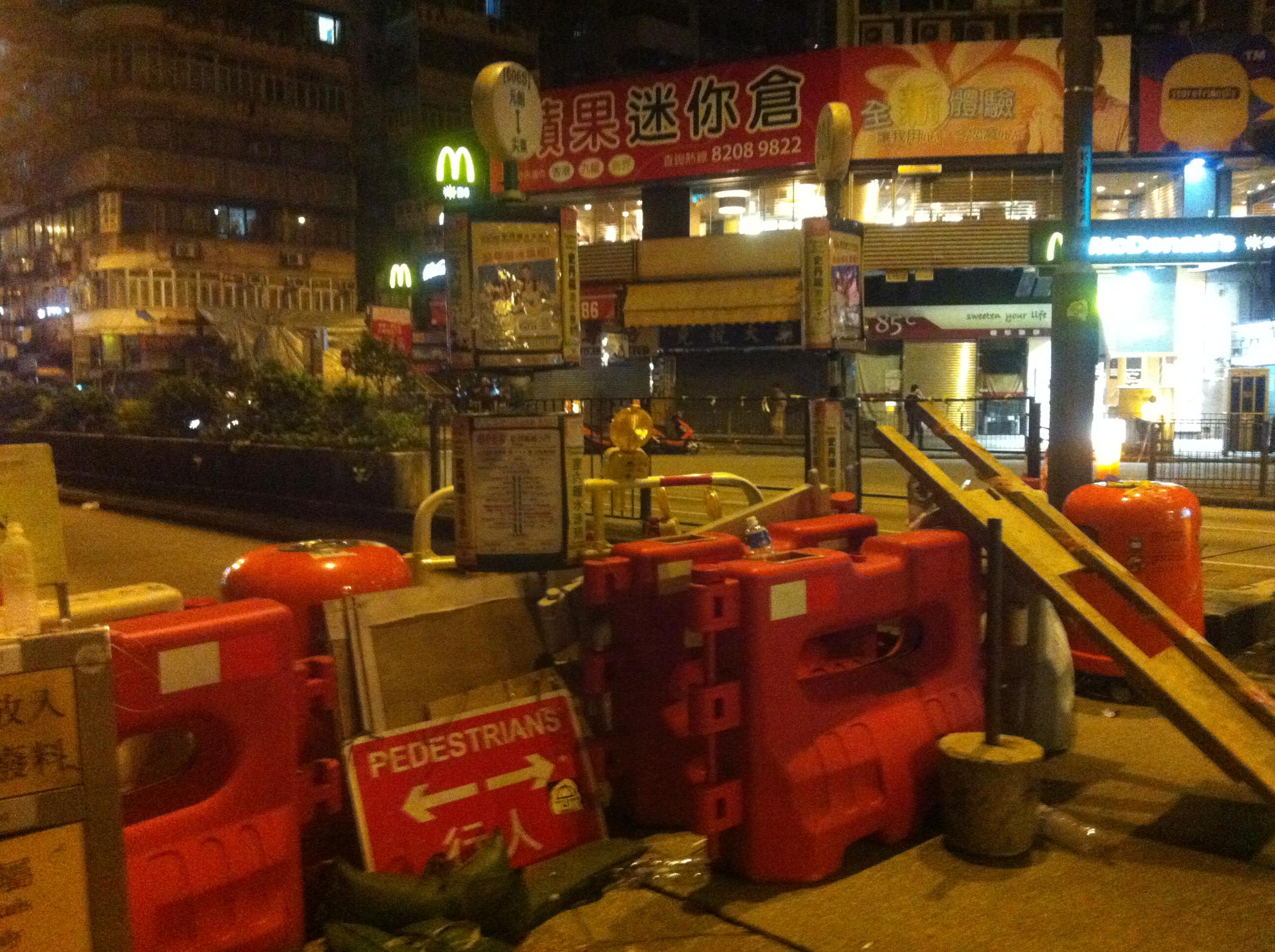 A barricade in Mong Kok.