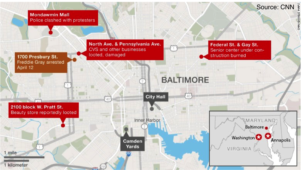 Most of the rioting occurred in West Baltimore