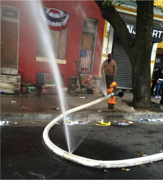 Slashed Fire Hose in Sandtown