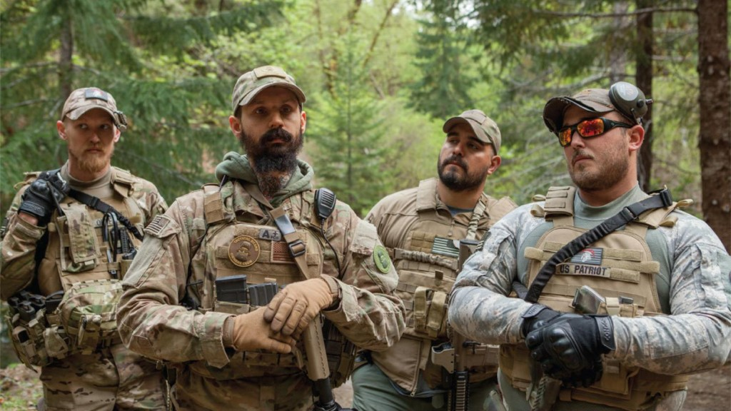 A group of Oath Keepers in Josephine County during the Sugar Pine Mine conflict. Photo by Shawn Records for VICE. SOURCE: <a href=